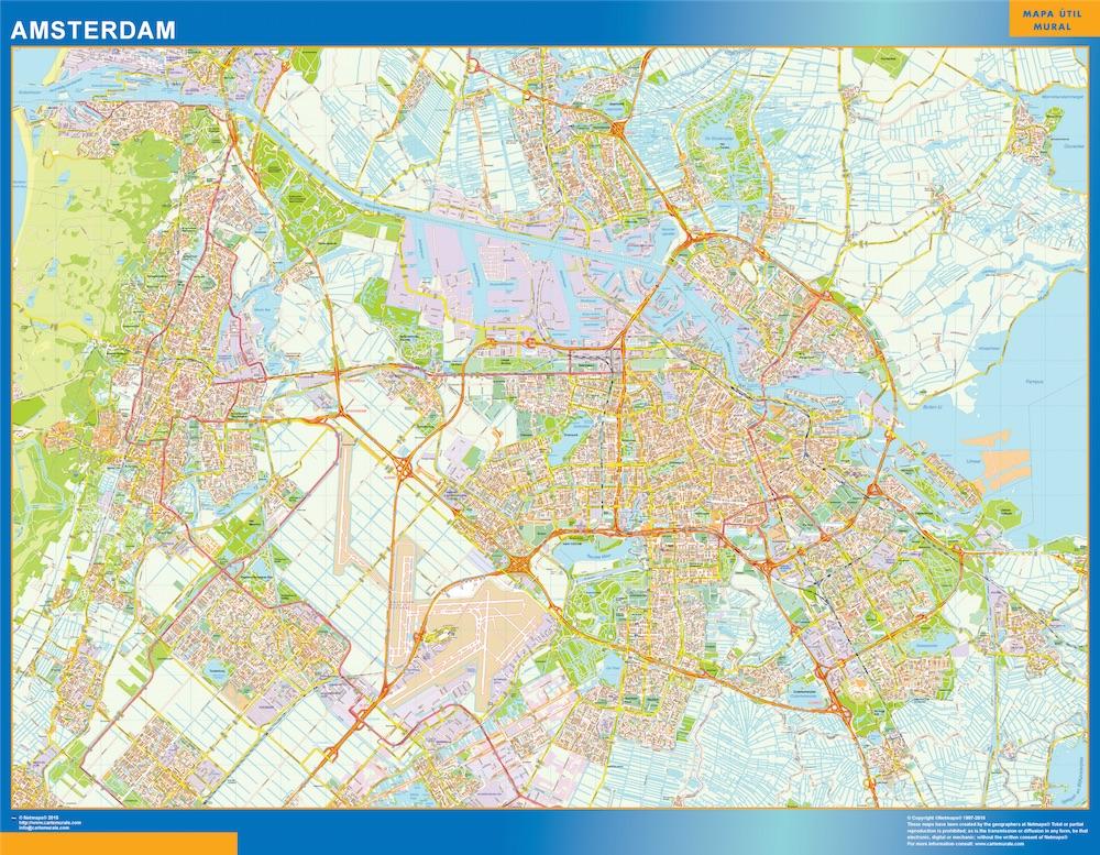 Amsterdam Map In Netherlands Kob Store Vaegkort Af Verden Og Danmark