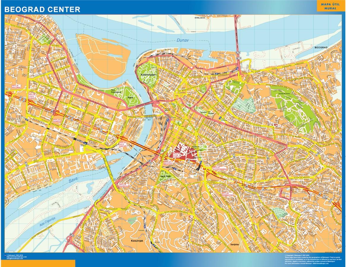 Beograd Downtown Map Kob Store Vaegkort Af Verden Og Danmark