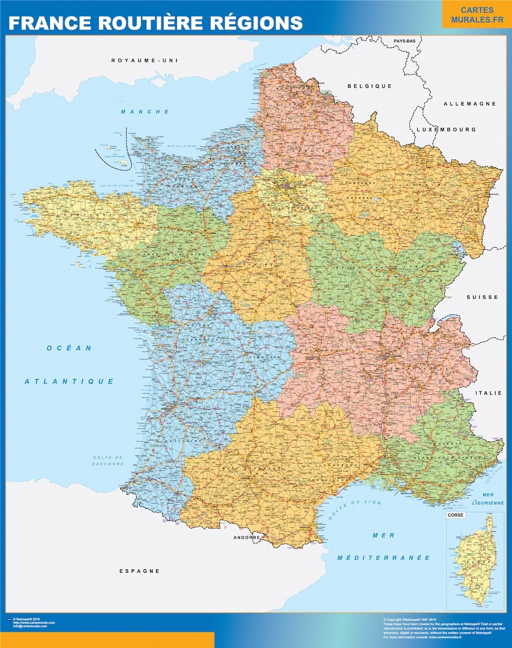 France Map Kob Store Vaegkort Af Verden
