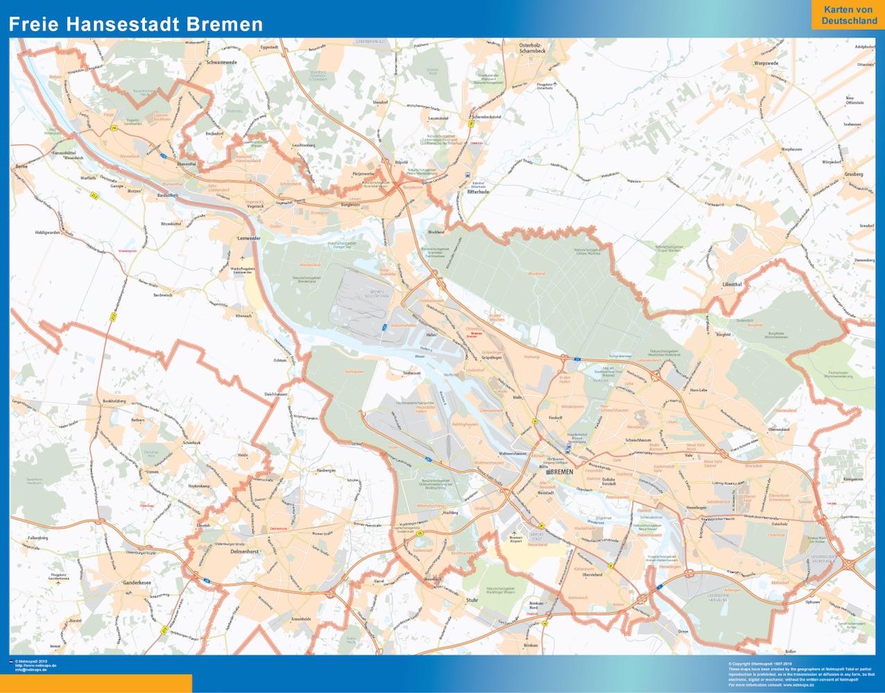 Freie Hansestadt Bremen Map Kob Store Vaegkort Af Verden Og Danmark