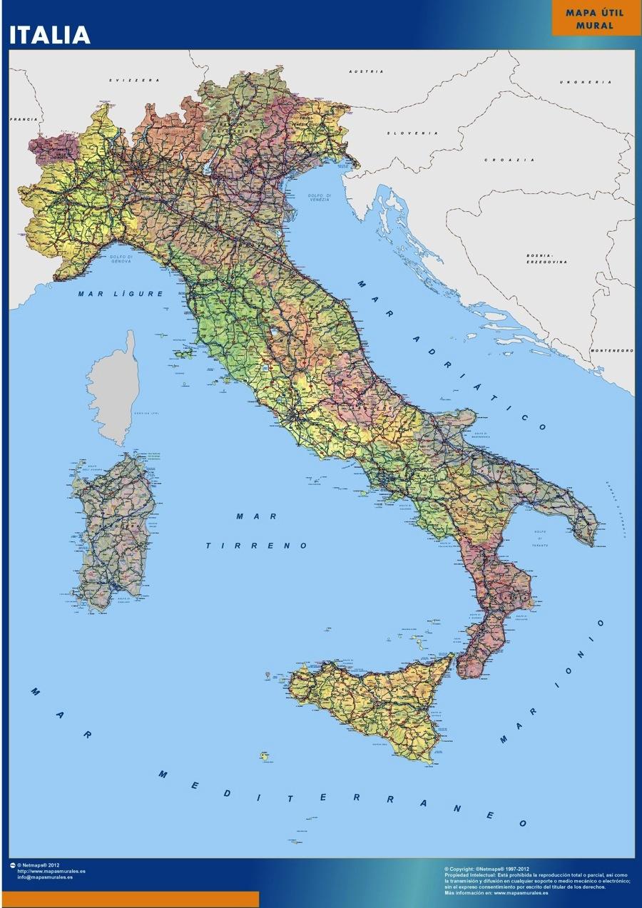 Italy Map Kob Store Vaegkort Af Verden Og Danmark