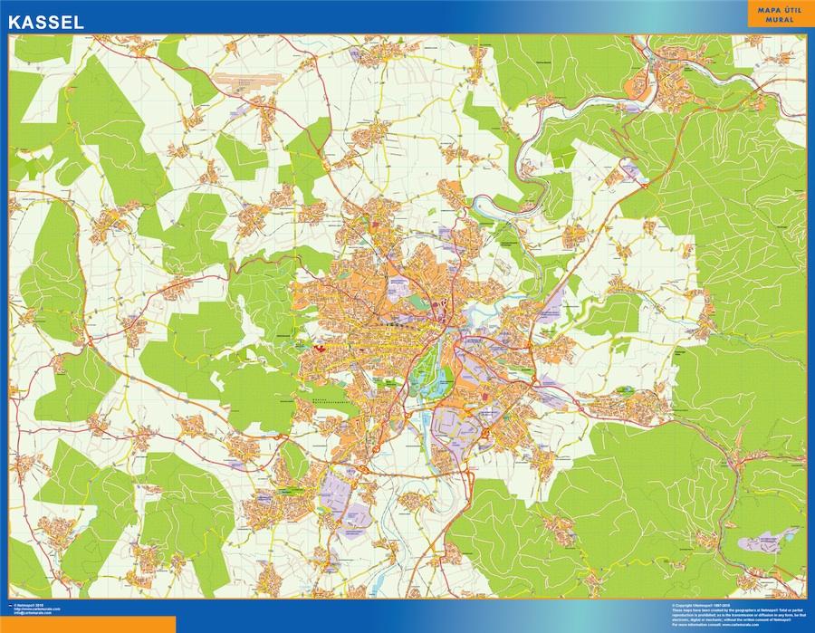 Kassel Map In Germany Kob Store Vaegkort Af Verden Og Danmark