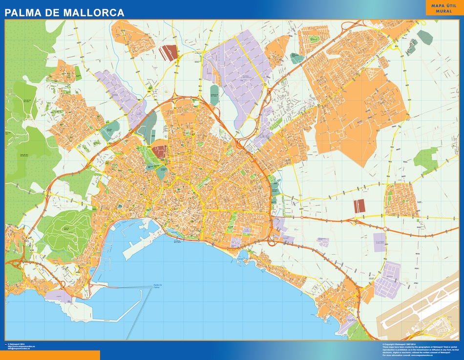 Map Of Palma Mallorca Spain Kob Store Vaegkort Af Verden Og Danmark