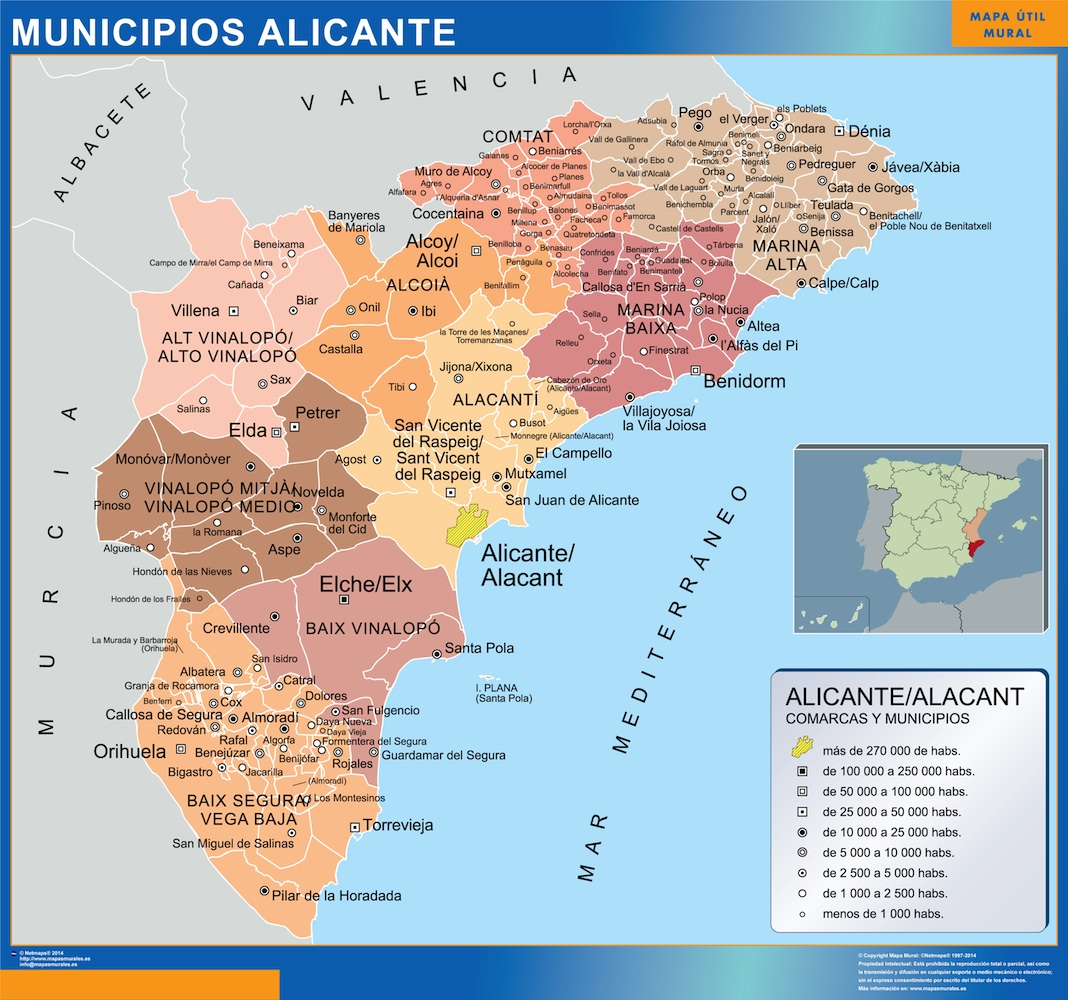 Municipalities Alicante Map From Spain Kob Store Vaegkort Af