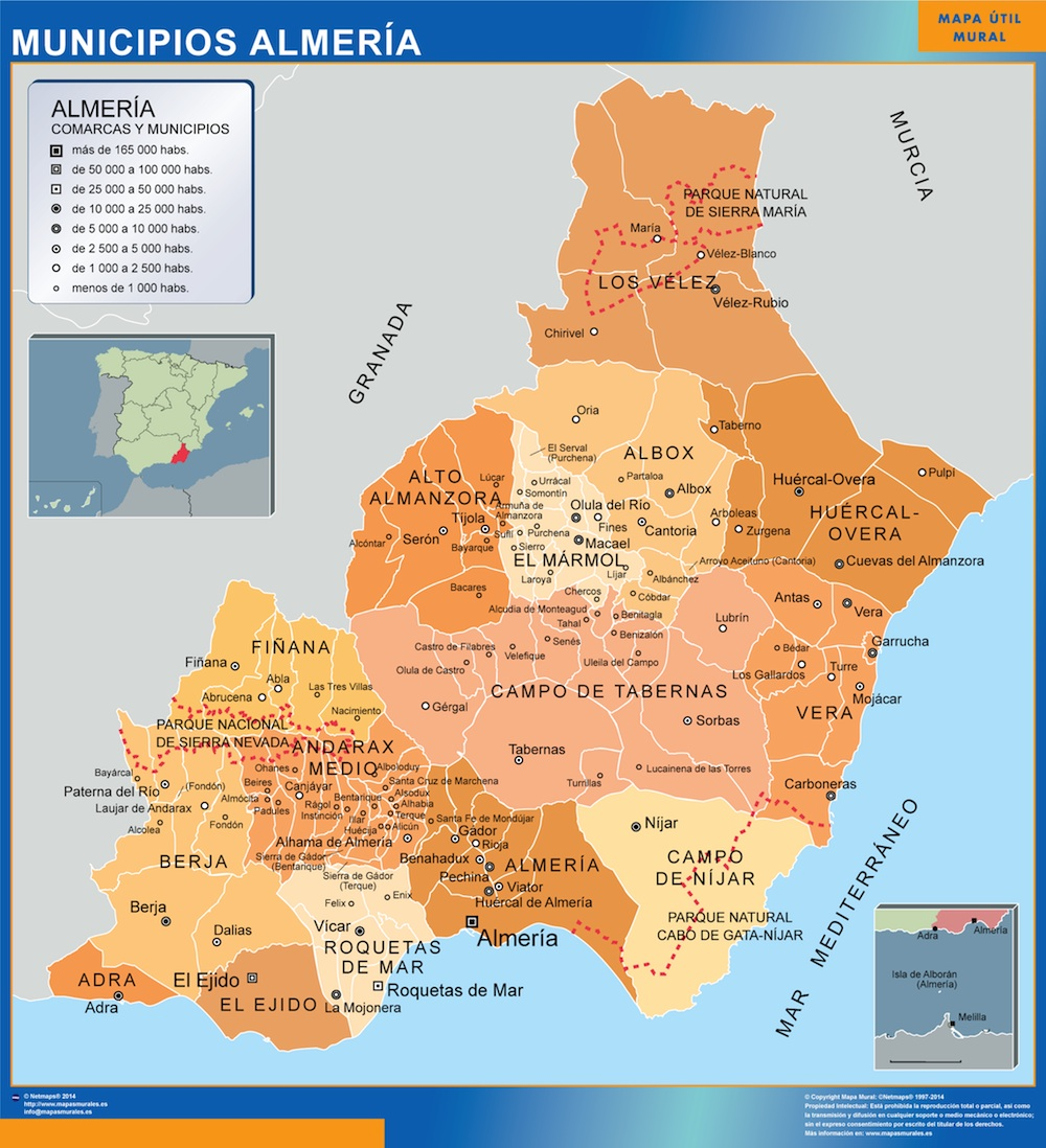 Municipalities Almeria Map From Spain Kob Store Vaegkort Af