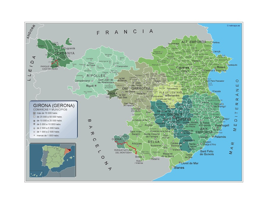 Municipalities Girona Map From Spain Kob Store Vaegkort Af Verden