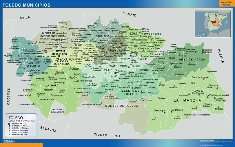 Municipalities Toledo Map From Spain Kob Store Vaegkort Af Verden