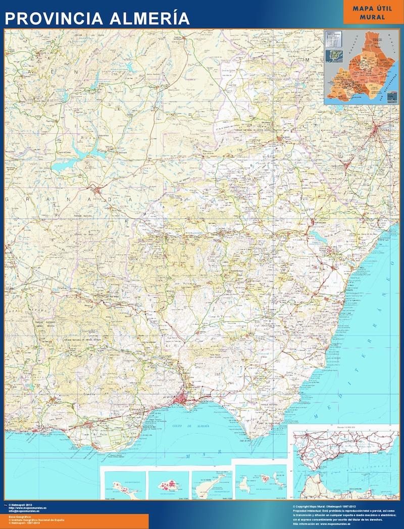 Province Almeria Map From Spain Kob Store Vaegkort Af Verden