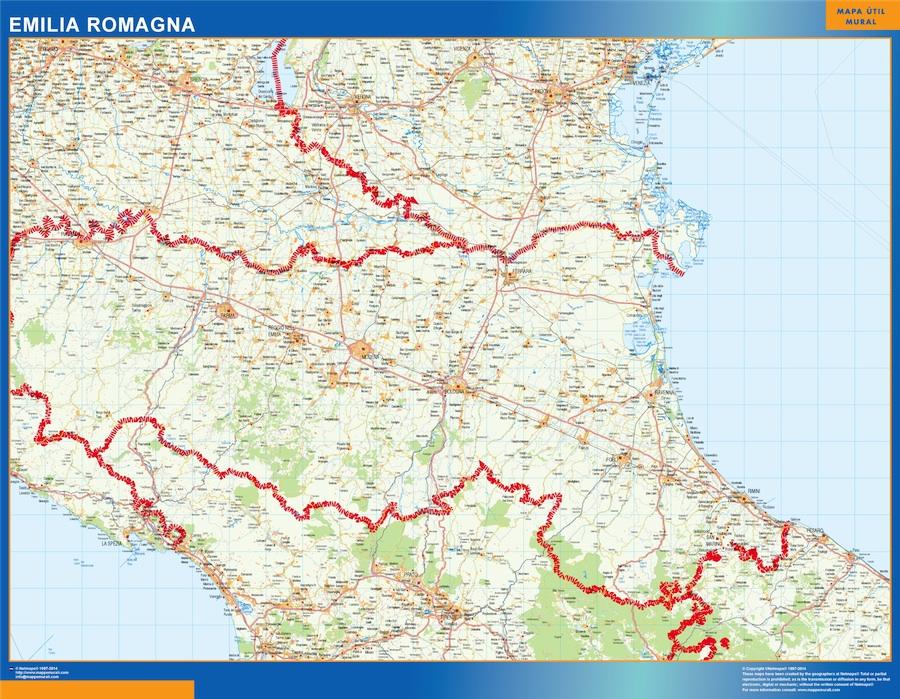 Region Of Emilia Romagna In Italy Kob Store Vaegkort Af Verden Og