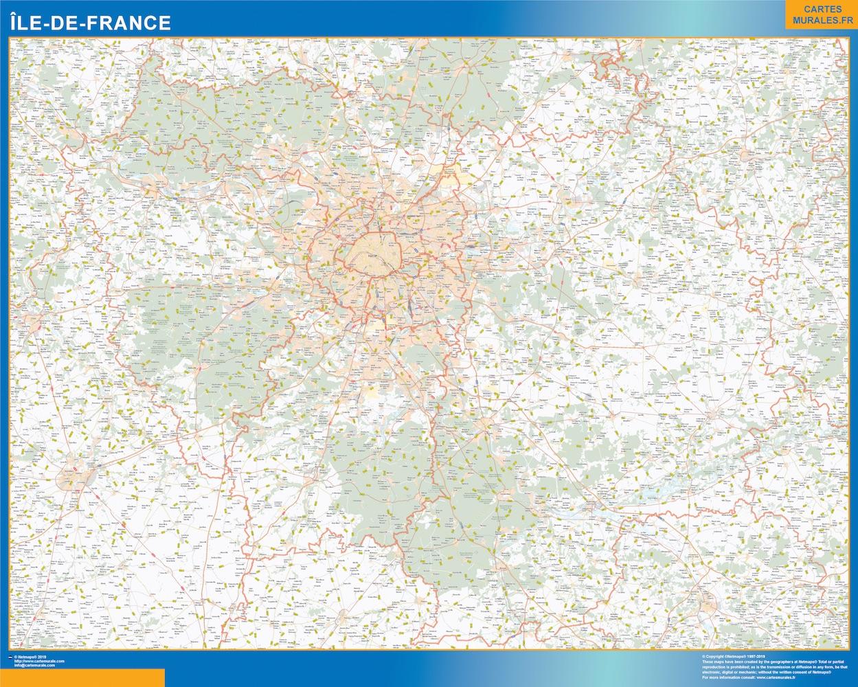 Region Of Ile De France Map Kob Store Vaegkort Af Verden Og Danmark