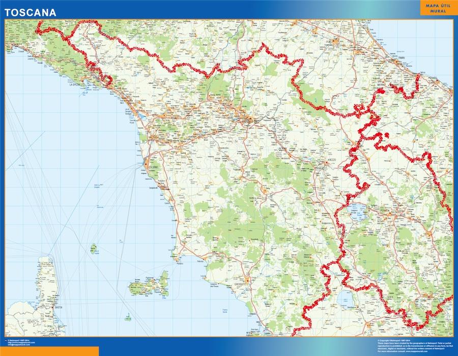 Region Of Toscana In Italy Kob Store Vaegkort Af Verden Og Danmark