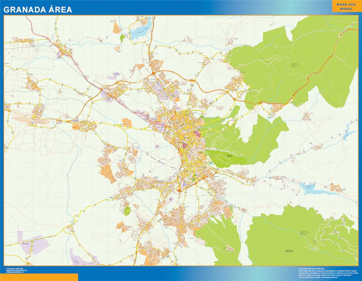 Road Map Granada Spain Kob Store Vaegkort Af Verden Og Danmark