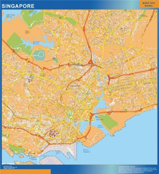 Singapore laminated map, Asia wall maps capitals   Køb store ...