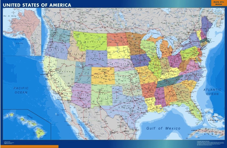Usa Map Kob Store Vaegkort Af Verden Og Danmark