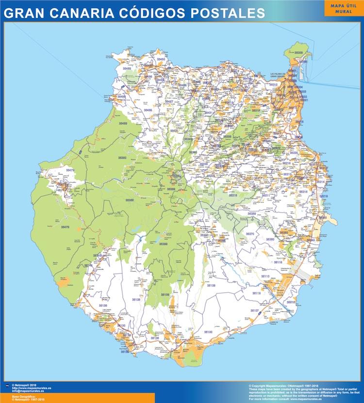 Zip Codes Isla Gran Canaria Map Kob Store Vaegkort Af Verden Og